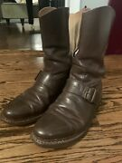 Vintage Probstandrsquos Usafe Flight Boots Rare Buckle Side Zip Sz 7-8 Brown Air Force
