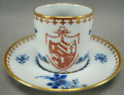 Copeland Spode New Stone Armorial Crest Cobalt Floral And Gold Demitasse Cup