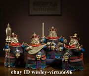 Copper Brass Hand-painted China Myth Four Heavenly Kings God Warrior Buddha Set