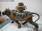 Chinese Bronze Copper Cloisonne Lion Treasure Bowl Ox Bull Cattle Beast Statue