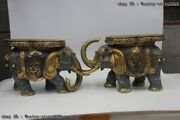 Chinese Bronze Copper Cloisonne Eight Treasures Elephant Flower Stool Chair Pair