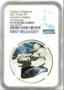 2021 Tuvalu Deadly And Dangerous - Australiaand039s Stingray 1oz Silver Ngc Pf70 Uc Fr
