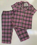 Aria Womenand039s Summer Flannel Pajama Set Top And Capris Pink Gray Plaid M L Xl