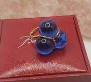 Baccarat Trio 18 K Gold Sapphire Baccart Glass Ring Size 4.75