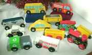 12 Wood Toy Cars/trains, Maxim, Amtrak, Police, Bus,trash,magnetic Train, More