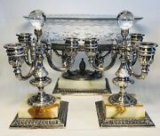 Pairpoint Silverplate Cherubs Crystal Centerpiece And Pair Of 3-arm Candelabras