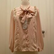 Axes Femme - Flower Embroidery Ribbon Blouse With Glitter - New W/ Tags - Gyaru