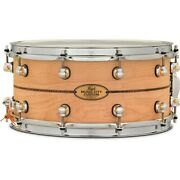 Pearl Music City Custom Solid Shell Snare Maple Kingwood Center Inlay 14 X 6.5
