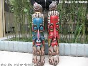 39 Inch Chinese Folk Wood Handwork Carved Painted Two Taoist God Face Mask Pair