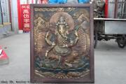 35 Tibet Wood Inlay Copper Board Painted Ganapati Elephant God Of Wealth Thangka