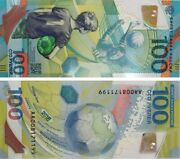 Russian Banknote Unc 100 Rubles 2018 Fifa World Cup W/ Bcw Holder