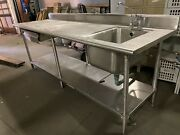 96andrdquo Stainless Steel Prep Station With Sink Restaurant Bakery