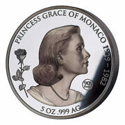 Grace Kelly Shadow Minting 5 Oz Black Proof Silver Coin 10 Samoa 2019