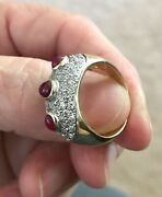 Extremely Rare Antique Estate 14k Yellow Gold Ruby Cabochon And Pave Diamond Ring