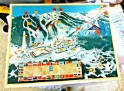 Vintage Lovely Illustrated Map Of Squaw Valley Winter Olympics Flags Wilkie 1960