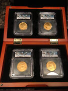 2007 D Presidential Medals 4 Pc Set Icg Ms65 Signed By Daniel Carr W/ Wood Box