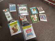 Vintage Crafts Lot Needlepoint And Counted Cross Stich Kits Christmas Kids Craft