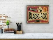 Vintage Wall Art Antique Sign Black Jack Casino Card Game Party Decor Game Room