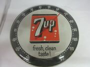 Vintage Advertising 7-up Soda Fountain Round Thermometer  Store M-515
