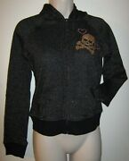 Womenand039s Vintage Peachie Keen Black And Gold Zip Up Hooded Jacket Heart Skull Sz M
