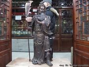 Chinese Red Copper Dragon Guan Gong Knight Guanyu Warrior Hold Sword God Statue