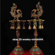Palace Decoration Copper Inlay Gem Phoenix Oil Lamp Candlestick Candler Pricket