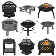 Metal Fire Pit Brazier Square Table Wood Burning Patio Heater Stove Outdoor Bbq