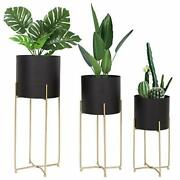 Mid Century Planter With Gold Plant Stand For Indoor Plants Modern Planters