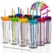 Skinny Tumblers 12 Colored Acrylic Tumblers With Lids And Straws   Skinny 12