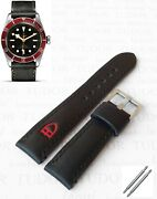 Handmade Black Leather Watch Strap 22mm With Buckle For Tudor Heritage Black Bay