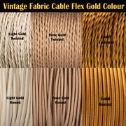 Vintage Italian Coloured Braided Lighting Gold Colour Fabric Cable Flex Cord Uk