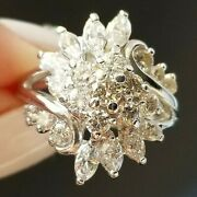 2tcw Vintage Round Marquise Quality Diamond Cluster 14k White Gold Ring