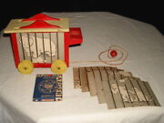 1950s Plankie Wooden Circus Wagon W/original Animal Cards, Crayons And Pull String