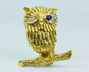 Vintage 18k Yellow Gold Blue Sapphire Eye And Round Diamond Owl Shaped Pin