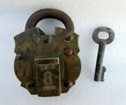 Antique Old Solid Brass Copper Iron Push Button Trick System Padlock Key Working