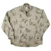 Columbia River Lodge Ribbed Deer Hunting Print Button Up Shirt Mens Size Large