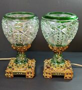 Absolute Showpieces Antique Green Cut 2 Clear Austrian Heavily Jeweled Lamps
