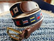Size 34 | Men's Nautical Flag Belt Canterbury Brown Leather Brass Buckle