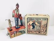 Rare 1920and039s Louis Marx Charleston Trio Wind-up Tin Toy With Repro. Box