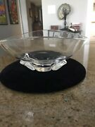 Steuben Glass Art Deco Footed Oval Bowl By George Thompson.1940. Signed Steuben