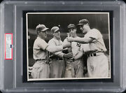1937 World Series Photograph With Lou Gehrig Joe Dimaggio And Mel Ott Psa/dna