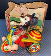 Vintage Made In Japan Line Mar Toy Celluloid Doll Tricycle Disney Mickey Mouse