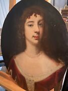 Antique 17th Century English Portrait Painting Of A Lady