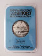 1987 Numismatic News 1 Troy Ounce .999 Silver Commemorative Proof Art Round