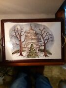 The Empty Nest Hand Made And Painted Wood And Tile Serving Tray Capitalbuildg Signed