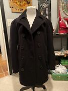 Vintage Peacoat Monterey Club 1970s Size 40 Military Navy Jacket Anchor Buttons