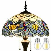 Style Floor Standing Lamp Tall Blue Lotus Stained Glass Shade Design