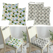 Set Of 2 Square Chair Seats Pads With Ties Anti-slip Garden Home Office Cushions