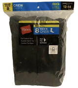 Hanes 8-pack Men's Big And Tall Crew Socks - Shoe Size 12-14, Black 1912