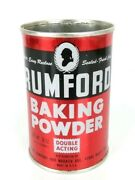 Vintage Rumford Baking Powder Advertising Tin Can Empty Made In Usa